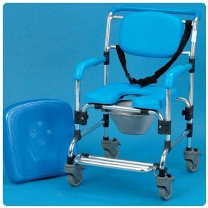 Ocean Wheeled Shower Commode Chair - Commode by Rolyn Prest. $1031.67. (SEE AVAILABILITY ABOVE FOR ESTIMATED DELIVERY) - Ocean Wheeled Shower Commode Chair - Commode - Ocean Wheeled Shower Commode Chair - This attendant propelled shower & commode chair features a comfortable contoured horseshoe seat for washing & toileting use. The backrest & armrests are padded for comfort & support. Manufactured from corrosion resistant materials, it is durable & easy to clean. The alumin...