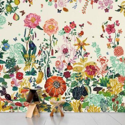 Papier peint Jardin crème - Nathalie Lété - Domestic                                                                                                                                                                                 Plus