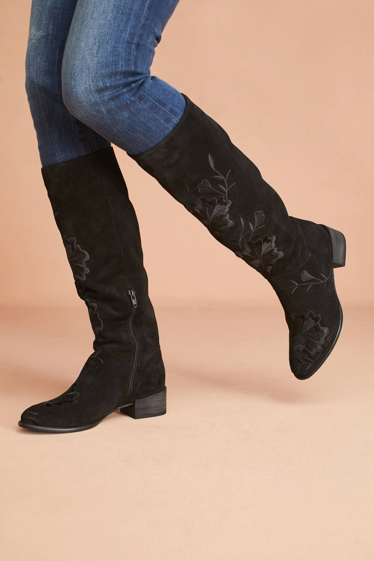 at Anthropologie -  Seychelles Callback Embroidered Boots in black