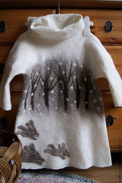 """Купить Платье валяное детское """"Снеги белы"""" - белый, войлок, валяное платье, одежда для детей"""