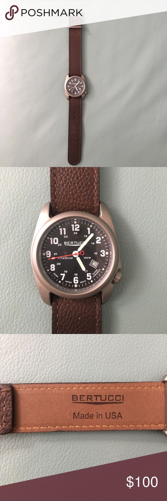Bertucci brown leather watch  NEVER BEEN WORN Bertucci brown leather watch! Never been worn...clear protective cover still on the face and back of the watch! Bertucci Accessories Jewelry