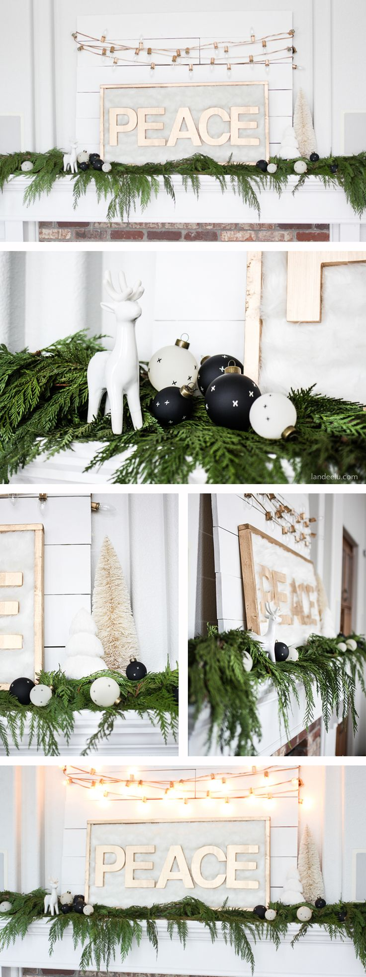 A simple Christmas mantel idea using fresh cedar Christmas garland! Beautiful and peaceful. Gold, white, lights and greenery.