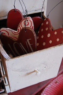 wooden hearts...inspiration for a thrift store find I need to paint now.