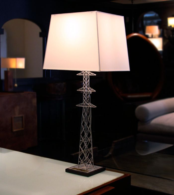 Transmission tower table lamp