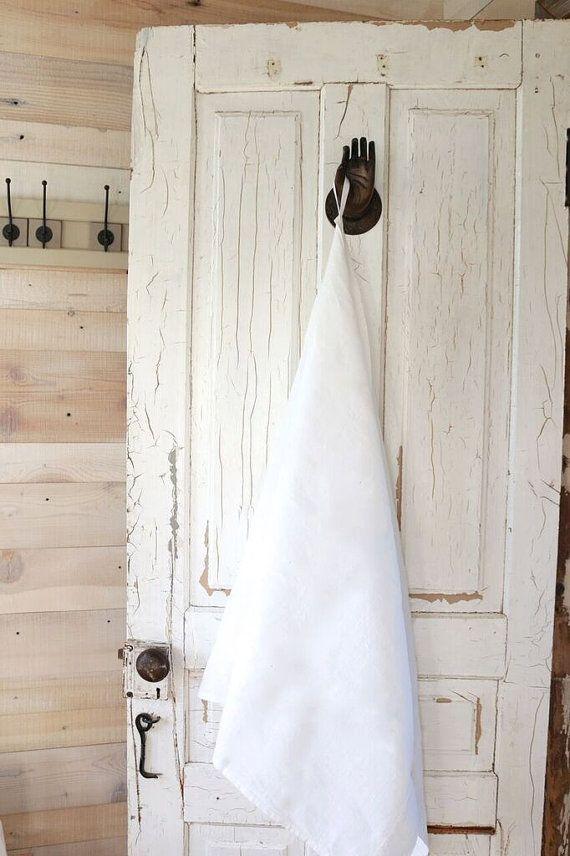 White Linen towel  Natural linen hand / face towel от pureWHITEspa
