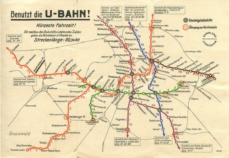 """U-Bahnplan von 1933 Der U-Bahnhof  """"Reichskanzlerplatz"""" heisst jetzt Adolf Hitler Platz."""