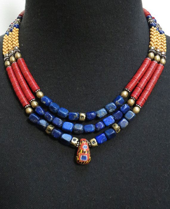 Lapis and African Trade Bead Triple Strand Necklace... £174.59 GBP GEMILAJewels    on Etsy