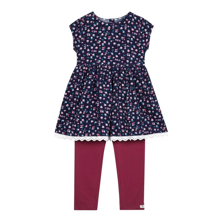 Mantaray Girls' navy floral dress and leggings set- at Debenhams.com