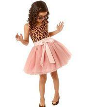 Nuevos 2015 niños niñas vestidos de niños del vintage Lepoard sin mangas de tul vestido de ropa (China (continental))