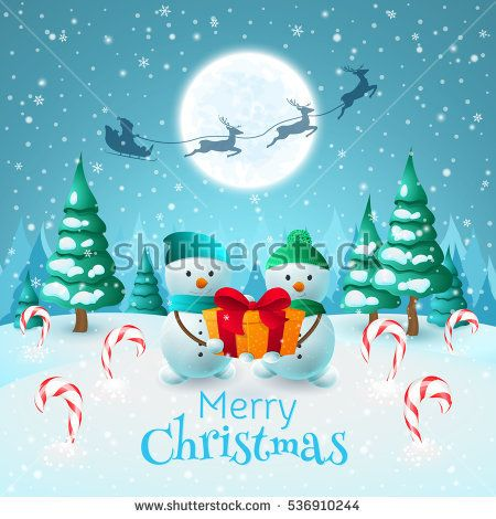 """Cartoon winter landscape with two Snowman and gift. Vector holiday card with title """"Merry Christmas"""" and santa's sleigh, deers, trees, snowflakes, candy cane"""