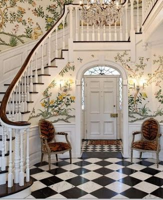chinoiserie wallpaper and marble checkerboard floor in entry