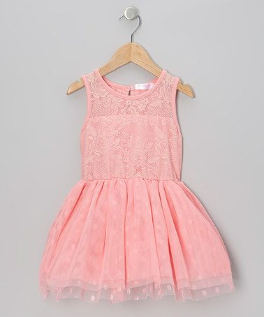 Take a look at this Coral Lace Polka Dot Tulle Dress - Infant, Toddler & Girls by Just Fab Girls on #zulily today!