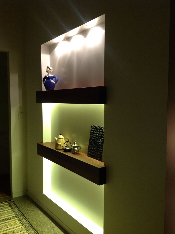 Niche shelves with lighting