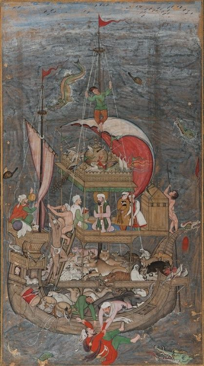 Noah's Ark ca. 1590 Miskin Mughal dynasty Akbar(r. 1556 - 1605) Color and gold on paper H: 28.1 W: 15.6 cm India-NUHUN GEMİSİ..