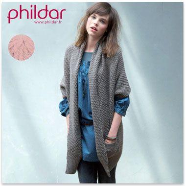 Modèle gratuit veste longue femme de Phildar