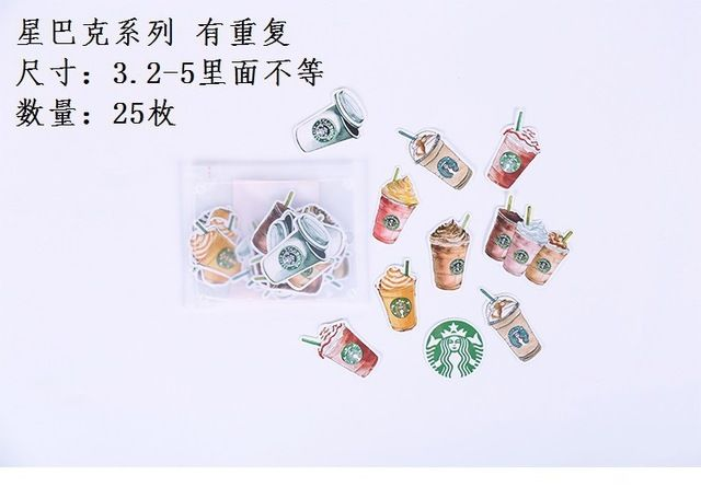 DIY Colorful Starbucks series 3D kawaii Stickers Diary Planner Journal Note Diary Paper Scrapbooking Albums PhotoTag
