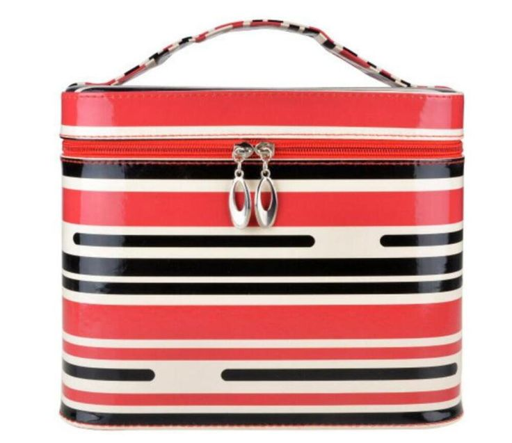 HOYOFO PU Large Makeup Organizer Travel Cosmetic Bags Make Up Case with Small Mirror,Stripe => To view further, visit now : Travel cosmetic bag