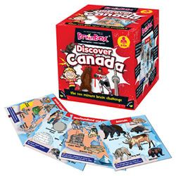 BrainBox Discover Canada contains 55 beautifully-illustrated cards showing the very best Canada has to offer, and then some! The object of the game is to study a card for 10 seconds and then answer a question based on the roll of a die. If the question is answered correctly, the card is kept and the person with the most number of cards after 5 or 10 minutes is the winner. #Canada #Canadian #beaver #brainbox