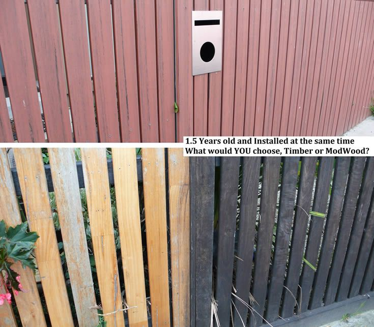 Weathered all colours; fence of ModWood vs timber #ModWood #Screen #Fence
