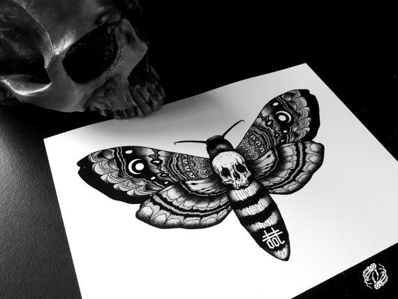 DEATH'S HEAD MOTH - Art Print - Skull Design - Intricate Illustration - Dotwork Linedrawing - Dark Art - Tattoo - Blackwork