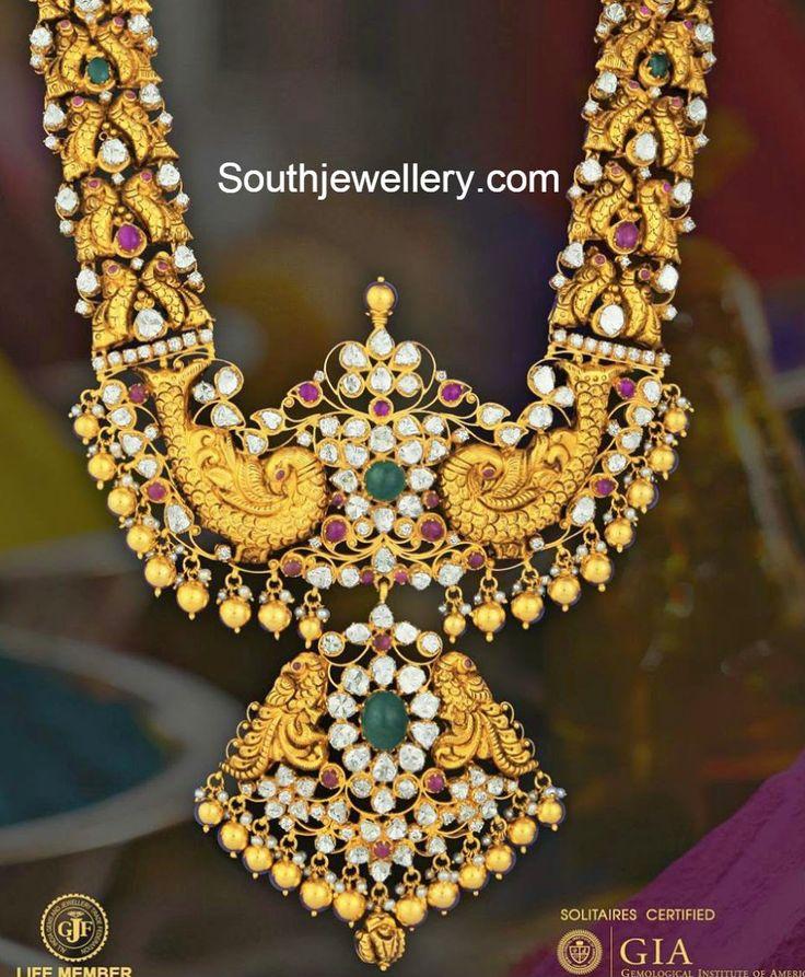 peacock polki necklace