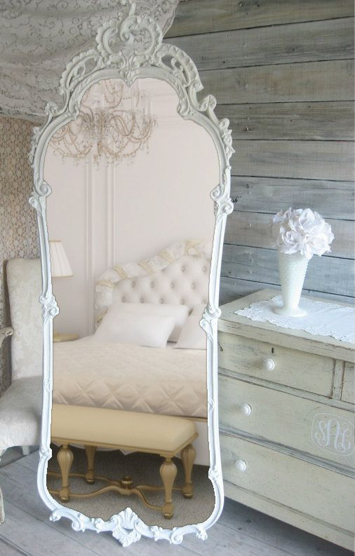 Shabby chic look - French Provencal Leaning Mirror Vintage