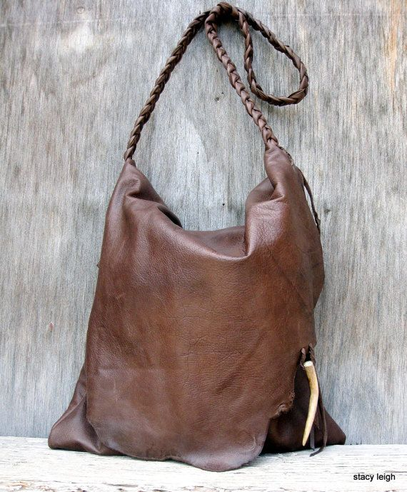 RESERVED for Debbie Rustic Leather Bag with Deer Antler Tip in Chocolate Brown by Stacy Leigh