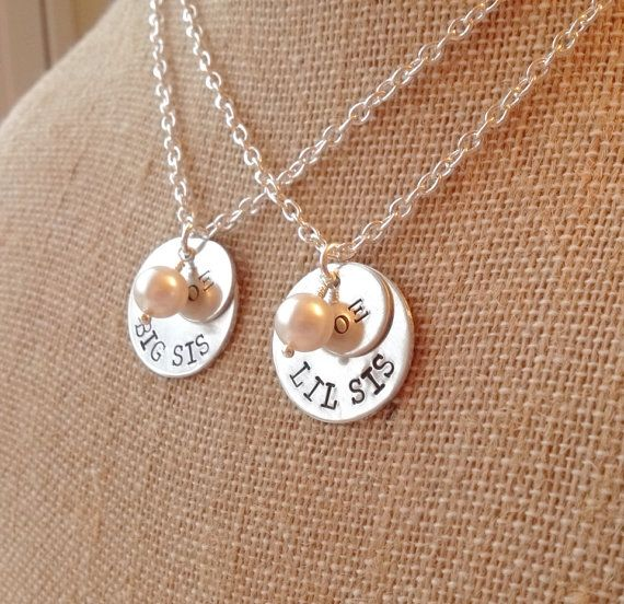 Big Sis Little Sis Necklace, Big Little Necklaces, Personalized Sorority Necklace, Sister Necklace, Hand Stamped Necklace, Silver Charm on Etsy, $26.00