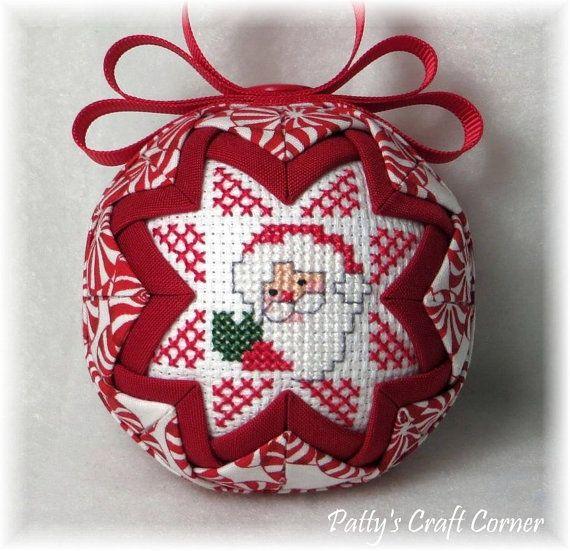 Quilted Keepsake Ornament  Santa / HO HO HO by PattysCraftCorner, $15.00