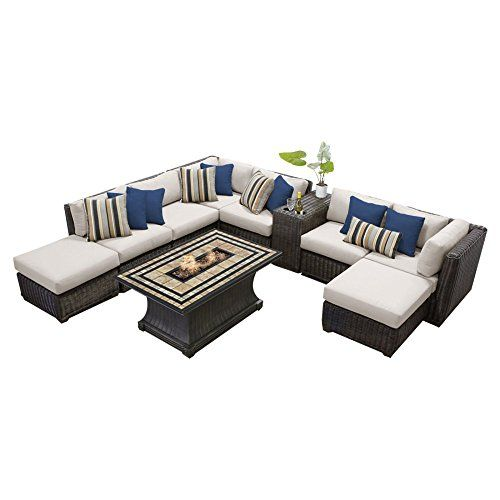Tk Clics 10 Piece Venice Outdoor Wicker Patio Furniture Set Six Sofa With Ottomans And Tables All Weather Polyethylene Over An