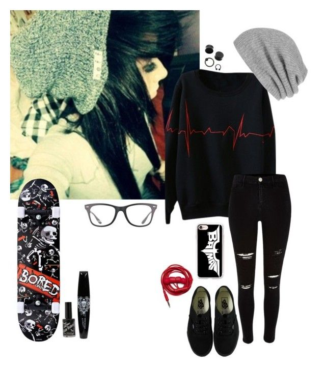 """emo skater"" by emokittyyy ❤ liked on Polyvore featuring River Island, Vans, White + Warren, Casetify, Urbanears and Ray-Ban"