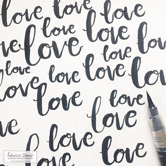 'Love' by Rebecca Stoner  Such heartbreakingly sad events here in the UK. There are no words, except this one....LOVE. Sending lots of love out to Manchester & all those affected & anyone who needs it today.   #manchester #westandtogether #prayformanchester #handlettering #brushlettering