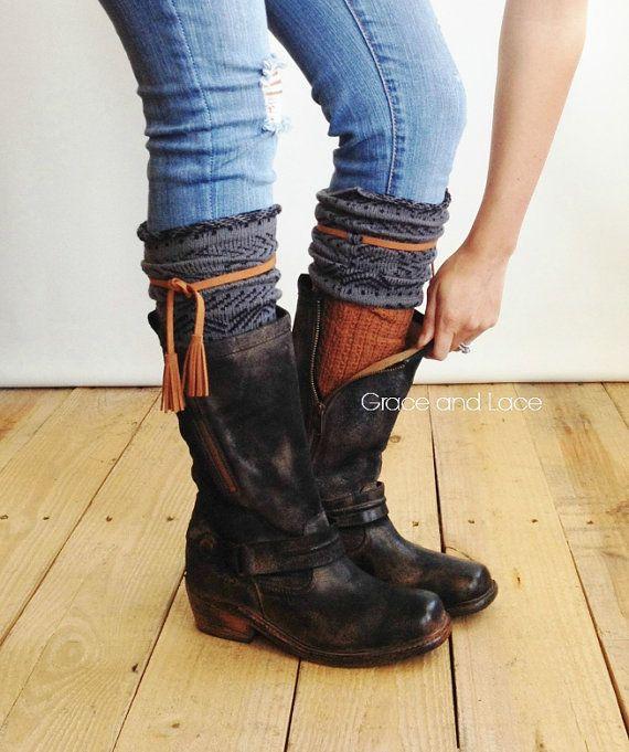 tahoe tassel boot socks grey tobacco waffle knit two