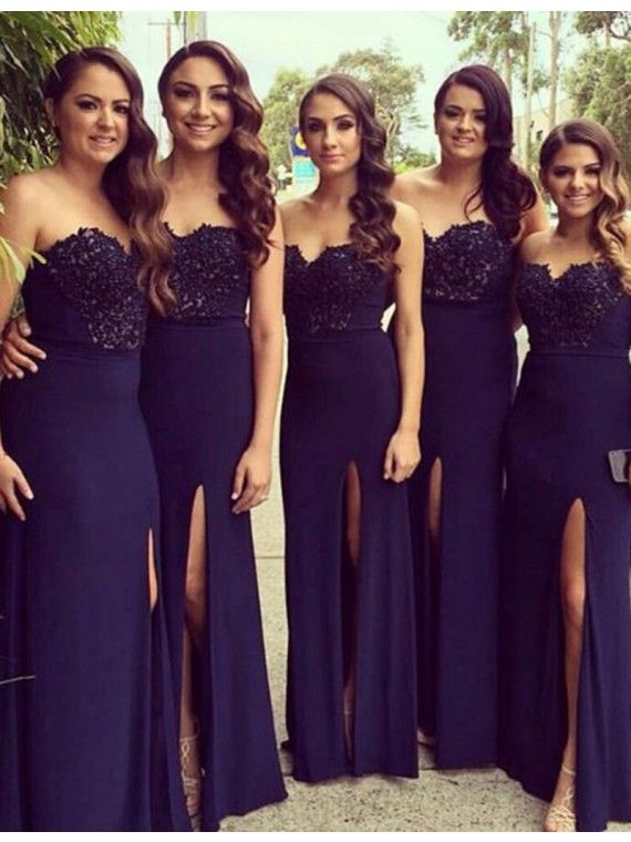 Navy Blue Bridesmaid Dresses Sweetheart Split Wedding Party