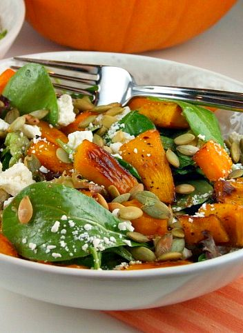 Such a fun recipe to serve with Thanksgiving dinner (and truly one of my favorite salads) : MAPLE ROASTED PUMPKIN SALAD