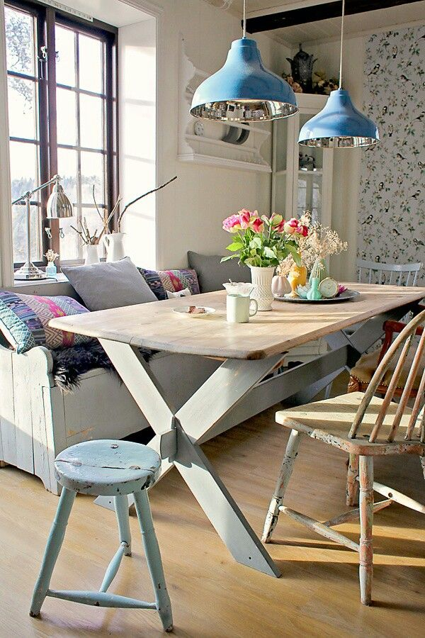 Pretty rustic banquette with blue metal pendant lights. Available at Springlights in Kloof, Durban.