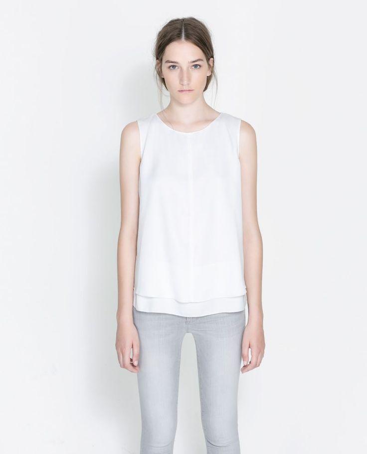 Zara Sleeveless Blouse In White