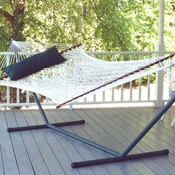 Island Bay XL Rope Double Hammock with 15 ft. Steel Hammock Stand Polyester - DP118-9