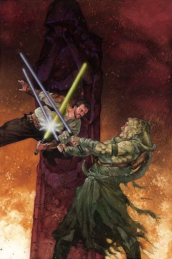 Kyle vs Boc illustration from 'Dark Forces: Jedi Knight'