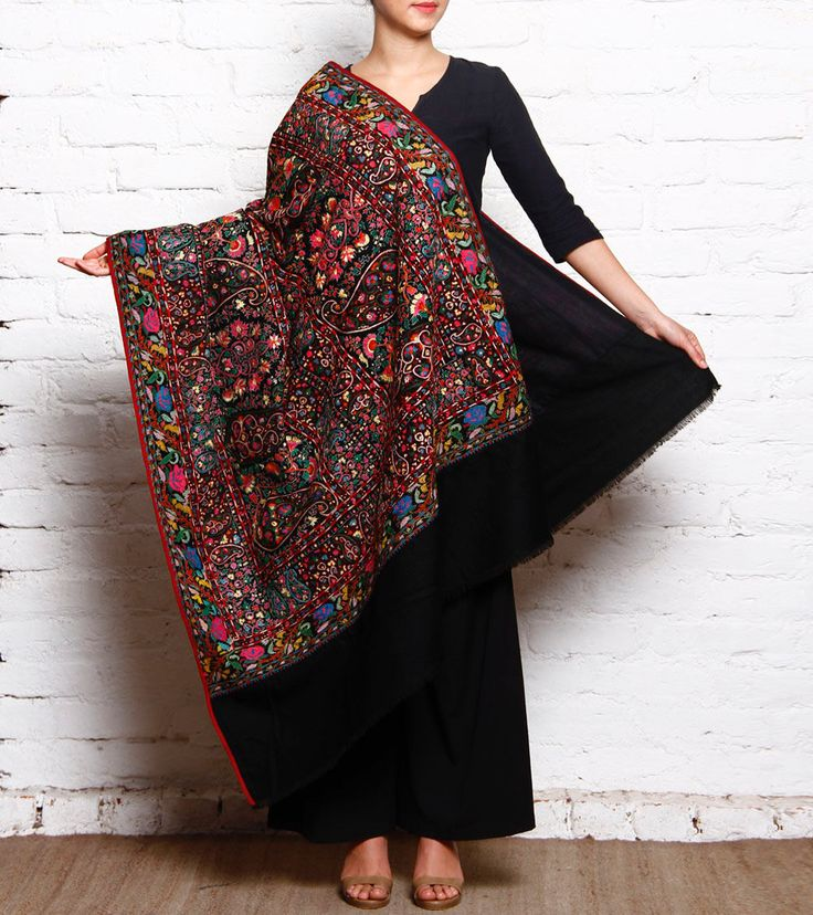 #Multicoloured Pure #Pashmina #Shawl With Jamawar by #Indicraf at #Indianroots