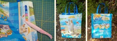 I made a tote bag similar to this, making it up as I went.  I lined it with ticking fabric and used webbing as straps.  It turned out pretty well.
