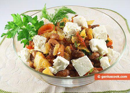 Тёплый Критский Салат с Фасолью, Фенхелем и Фетой