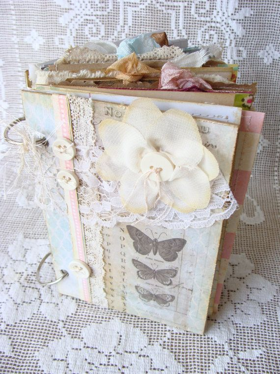Mixed Media Shabby Art Journal Vintage Inspired Collage Book Paper Fabric Lace Altered Art Journal Junk Journal Smashbook Diary Album