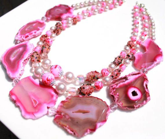 Pink agate statement vintage sugar beads necklace by cbcollection, $175.00