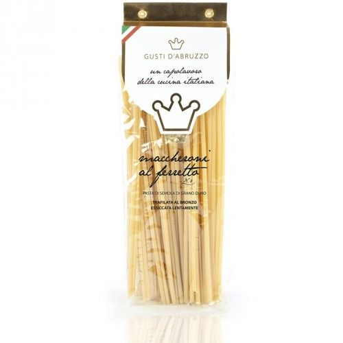 "PACKAGE: 6x tranparent pack 500 gr.  FORMAT: The  ""macaroni al ferretto"" are a variety of home-made pasta typical of the Calabrian tradition. Were prepared manually by women in the festivities. Were obtained by wrapping a thin sheet of wheat fresh pastas around a knitting needle, pressing and rolling it on a work surface to elongate the macaroni.  INGREDIENTS: durum wheat, water. COOKING TIME: about 8 minutes."