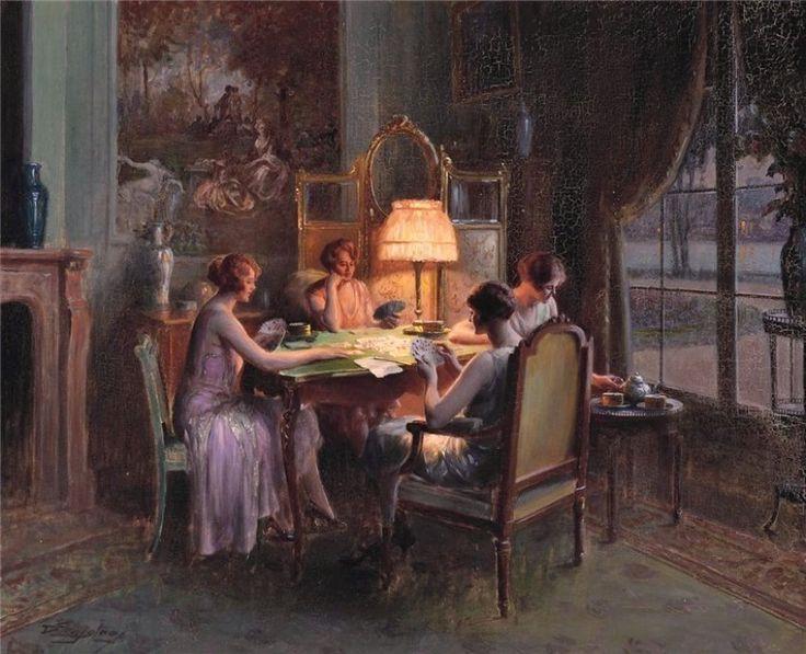 Enjolras, Delphin (b,1857)- Women Playing Card
