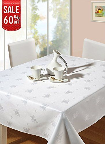 ab1ff71f704b Linenwalas Tablecloth White Cotton Damask – Jacquard Roses 60 inch x 90  inch Rectangle Table Cover Deal