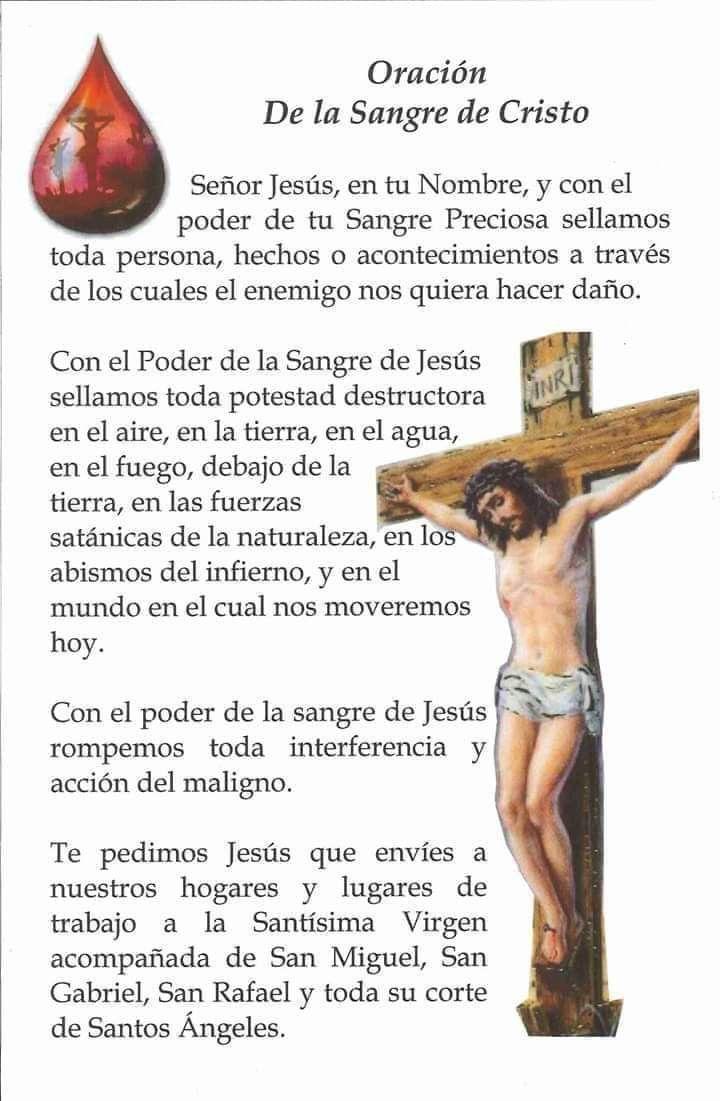 Oración de la sangre de Cristo   Oraciones cristianas, Oraciones poderosas,  Oraciones