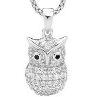 Owl with black eyes pendant