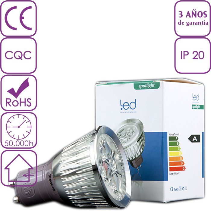 Bombilla LED dicroica o ojos de buey led GU10 4W de alta calidad y luminosidad